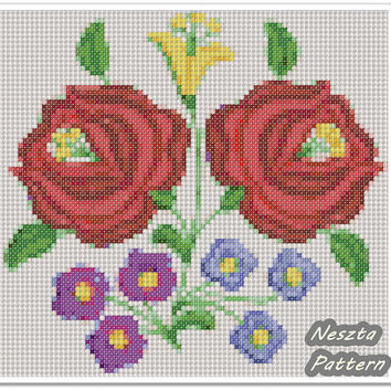 Kalocsa motif Cross Stitch Pattern, Cross stitch Embroidery