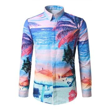 2017 Autumn Fashion Men's Clothes Hawaiian Print Shirt Male Long Sleeve Lapel Slim Fit Casual Tops Shirts Camisa Masculina