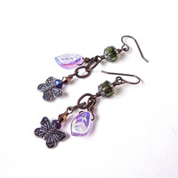 Dangly silver and brass butterfly earrings - long nature inspired green & iridescent purple leaf butterfly earrings by Sparkle City Jewelry