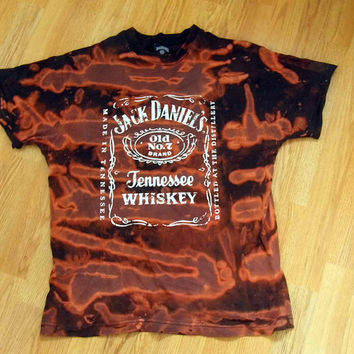 Reworked Tie Dye Galaxy Cosmos Jack Daniels T shirt Unisex Oversized UK M 90s Grunge Acid Wash Indie Whisky