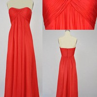 Hot Red A-line Scoop Neckline Floor Length Prom Dress
