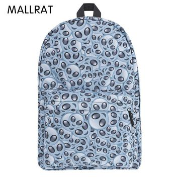 MALLRAT Alien Emoji Cream 3D Printing Backpack Mochila Backpacks for Teenage Girls Sac a Dos Canvas Backpack
