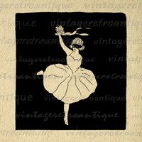 Printable Image Ballerina Download Ballet Dancer Digital Illustration Graphic for Transfers Pillows Tea Towels etc HQ 300dpi No.3864