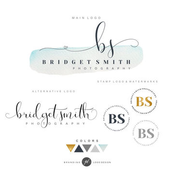 Watercolor Logo Design, Premade Branding Kit, Photography logo package, Watermark, Logo Design, Stamp, Branding kit, blog logo, Blog logo 10