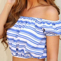 Blue And White Stripes Off Shoulder Puff Sleeve Crop Top