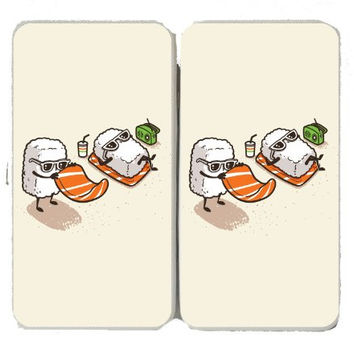 'Summer Sushi' Funny Cartoon Sushi Sunbathing on Beach - Taiga Hinge Wallet Clutch