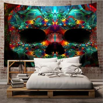 JaneYU New color skull print home tapestry wall hanging beach towel beach carpet