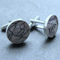 No. 02 Boston Ball Park Vintage Map Sterling Silver Round Cufflinks