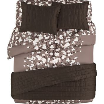 Marimekko lumimarja taupe bed linens in from crate and barrel for Crate barrel comforter
