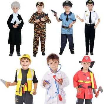 DCCKH6B Kids Boys Police Lawyer Firemen Doctor Cosplay Costume Children Role Play Costumes Halloween Party Dress Supplies