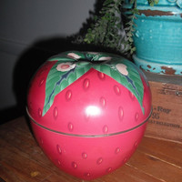 Large Vintage STRAWBERRY Tin Container