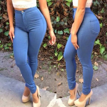 Stylish High-Waisted Pocket Design Slimming Jeans Pants For Women
