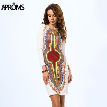 Dress Sexy Half Sleeve Knee-Length Bodycon Vintage Dashiki Traditional African