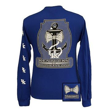 SALE UK Kentucky Wildcats Big Blue Classy Anchor Pearls Bow Long Sleeve T Shirt