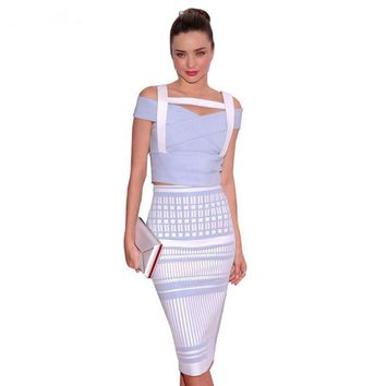 Top Quality Women Sexy Blue White Jacquard 2 Piece Pleated Rayon Bandage Dress 2016 Knitted Bodycon Elastic Designer Dress