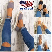 US Women Girl Flatform Lace Tie Up Espadrilles Strap Flat Sandals Peep Toe Shoes