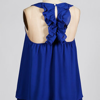 Double Ruffle Back Tank - Blue