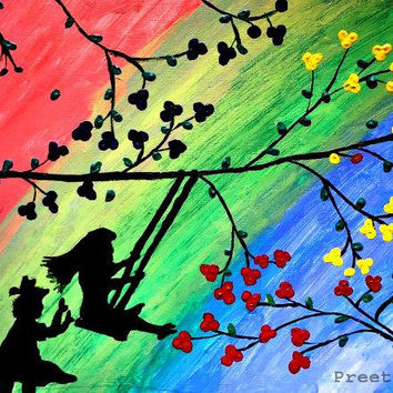 Valentine Contemporary Tree Art Print, Tree swing, Wood swing, Children's art, Kids wall Art, Kids room decor