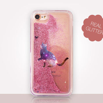 Cat Glitter Phone Case - Transparent Case - Clear Case - Transparent iPhone 7 - Clear iPhone 7 Plus - Gel Case - iPhone 6/6S