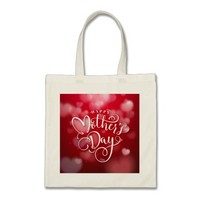 Modern Red White Hearts Happy Mother`s Day Tote Bag
