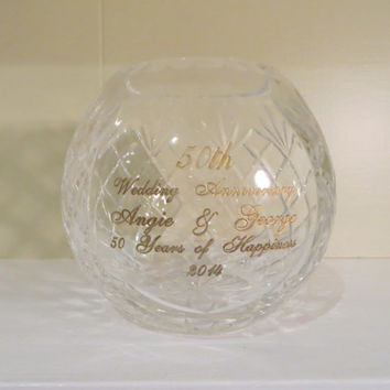 Crystal Bowl Wedding Anniversary Gift Etched