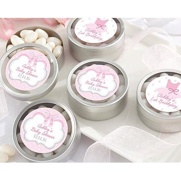 Personalized Silver Round Candy Tin - Tutu Cute (Set of 12)