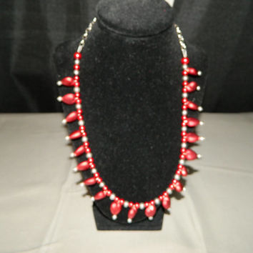 Red Silver Chocker Style Felt Bead Heart Statement Beaded Necklace