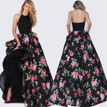 New Fashion Ladies Elegant Sleeveless Long Dress Party Ball Prom Gown Formal Patchwork Evening Halter Dress
