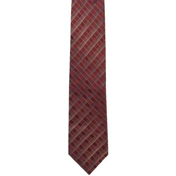 Van Heusen Checkered Wide Silk Tie - Red