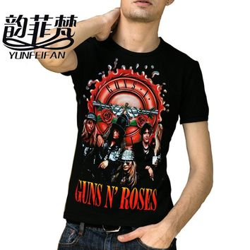 Guns N Roses Print Summer T shirt Men Women 2016 New Fashion Rock Singers Cotton T-shirt Special Gift Boyfriend Plus Size M-XXL
