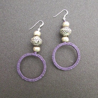 Bohemian Dangle Earrings, Macrame Hoop Earrings, Boho Purple Women Jewelry