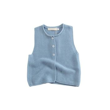 Newborn Baby Boy Girl Cotton Sleeveless Solid Sweater Vest  Knitted Vests Toddler Infants Autumn Style Cardigan Sweater