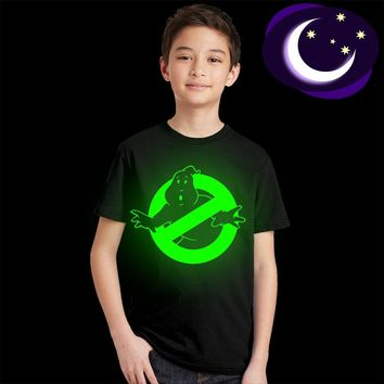 Luminous Ghostbusters Kids T Shirt Fluorescent Ghost Busters Logo Boys Girls T-shirt Glow In Dark Children Summer Tops Tees Cool