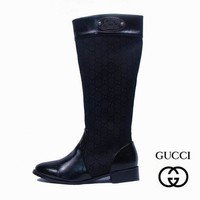 GUCCI Women Fashion Leather Tube in Boots Flats Shoes4