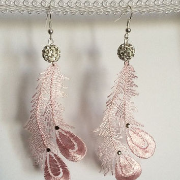 Pink Peacock Earrings, Lace Earrings, Feather Earrings, Dangle Earrings, Peacock Jewelry, Prom Accessories, Prom Jewelry, Long Earrings