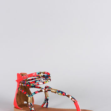 Qupid Printed Strappy Gathered Flat Sandal