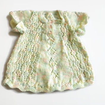 Newborn Baby Girl Dress, Knit Baby Dress, Heirloom Baby Outfit