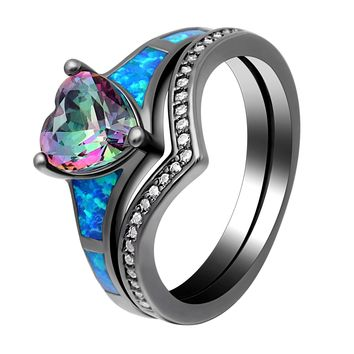 2pc Heart Fire Opal Rings For Women Vintage Fashion Jewelry Engagement Black Gold Filled Rainbow Blue Birthstone Ring Sets