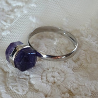 1- Amethyst Ring Adjustable Gemstone Silver Purple Stone Two Point Gem Silver Stone Amethyst Bullet Point Ring BuyDiy Fnished Jewelry