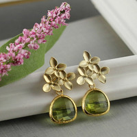 August Birthday Earrings, Cherry Blossom, Peridot Color Glass Earrings, Green, Bridesmaid Gift, Gold, Gift For Mother, Mother Of Bride