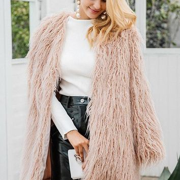 8DESS Fluffy Long Faux Fur Coat Women Winter Fake Fur Pink Fashion Colored Fur Coats Outerwear