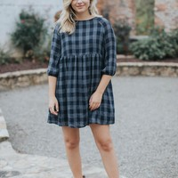 Celeste Plaid BabyDoll Dress, Navy