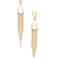These stylish earrings features a duo of linear faceted stones and fringe finish all attached to french hooks.
