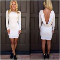 Snowdrift Drape Back Dress - OFF WHITE