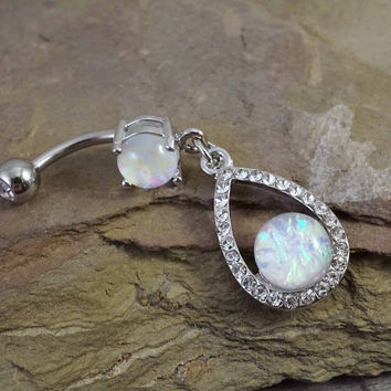Glitter Opal Teardrop Belly Button Ring