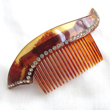 Vintage Faux Tortoise Shell Plastic Hair Comb with a Clear Rhinestone Border