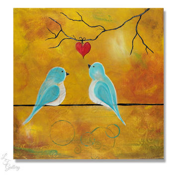 Original Painting Love Birds Painting Bird on a Wire Painting Valentine Painting Valentines Art Love Painting Blue Birds Painting Wall Art