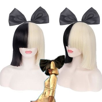 This is Acting SIA Anime Cosplay Wig Synthetic Hair Women Straight Halloween Half Blonde Black Short Bob Wigs With Bangs 35cm