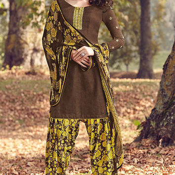 Brown and Leaf Green Printed Tussar Silk Straight Cut Suit