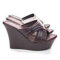 Unit68 Open Toe Slip On Mule Strappy Platform Wedge Sandals